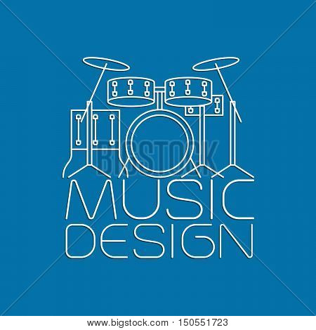 Music design with drum kit thin line vector logo