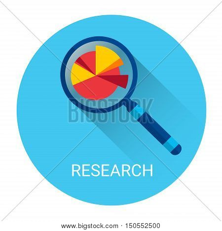 Magnifying Glass Icon Business Research Concept Flat Vector Illustration