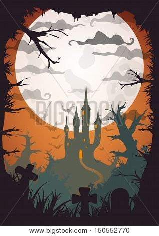 Halloween orange old movie style poster castle at night with full moon vertical a3, a4, a5 format size. Vector background