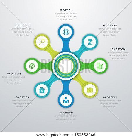 Vector illustration infographics eight options. Stock vector