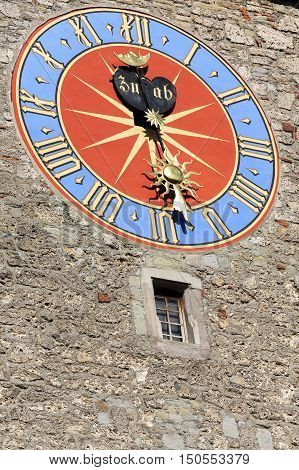 LUCERNE SWITZERLAND - MAY 08 2016: The big tower clock of Town Hall that was built in the early 1600s. The Clock Tower height it is over 40 meters.