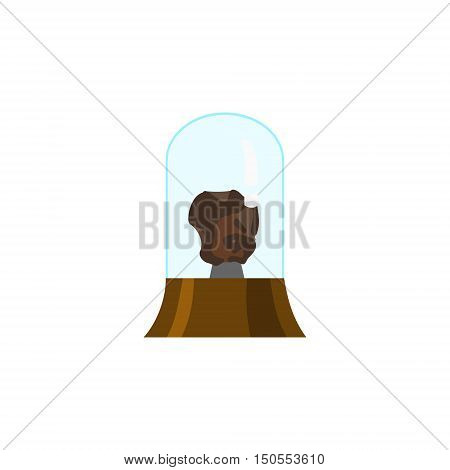 Image of fragment meteorite, flat style. Piece of asteroid, cartoon style.