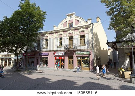 ZAKOPANE POLAND - SEPTEMBER 12 2016: Townhouse that is named Dom Mangla was built in 1904 by a Jewish merchant Maks Mangel. The house is located by the Krupowki street in the downtown