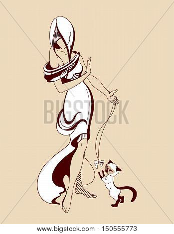 Girl plays with a cat on a beige background