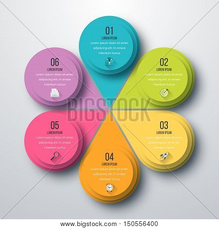 Infographic design with colored and white circles on the grey background. Eps 10 vector file.