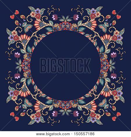 Decorative floral ornament. Beautiful frame. Bandana print or kerchief design. Vector illustration.