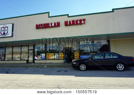 BOLINGBROOK, ILLINOIS / UNITED STATES - SEPTEMBER 17, 2016: The Bismillah Market offers lamb and goat meat in Bolingbrook's River Woods Plaza strip mall.