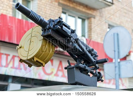 SAMARA RUSSIA - MAY 4 2015: Russian automatic grenade launcher with attached box for ammunition