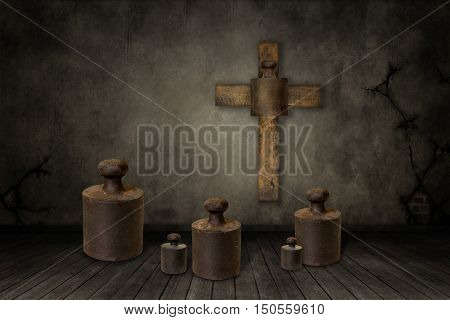 3D illustration of weights under the cross