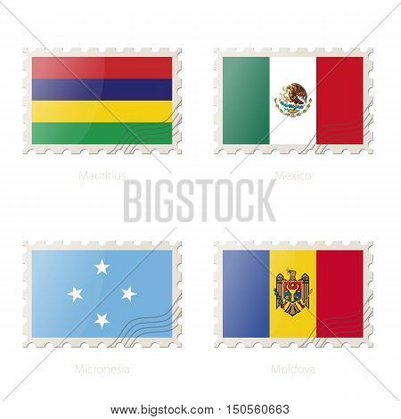 Postage Stamp With The Image Of Mauritius, Mexico, Micronesia, Moldova Flag.