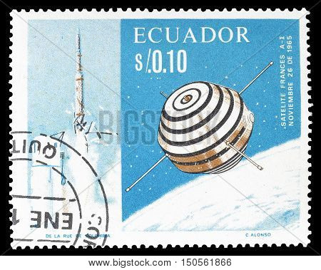 ECUADOR - CIRCA 1965 : Cancelled postage stamp printed by Ecuador, that shows Satellite.