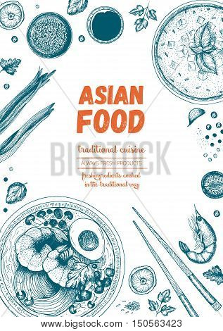 Asian food frame. Linear graphic. Vector illustration of asian food. Linear graphic. Soup and ramen illustration