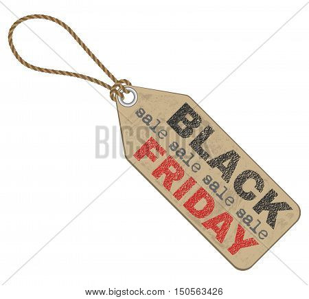 black friday sales tag isolated illustration on white background vector with textured parts