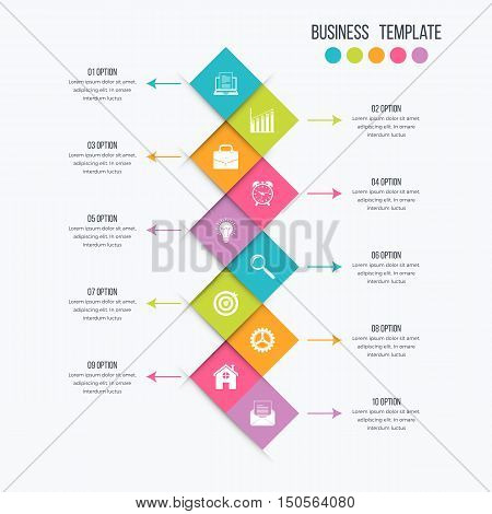 Vector infographic design 10 options. Stock illustration