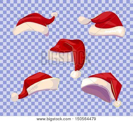 Cartoone style Santa hats set on transparent background. Vector illustration.