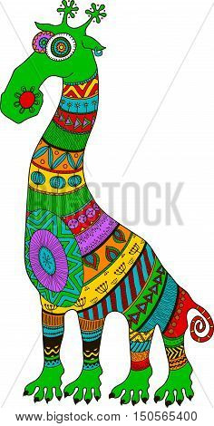 Crazy zoo. Polynesian maori and african style tattooed cartoon alien giraffe vector illustration. Bright colors