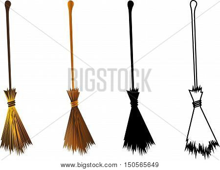Halloween witches broomstick , witches broom illustration