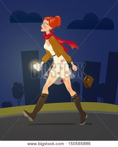 girl with cellphone walking alone at night alley. woman character. fashion girl. cute cartoon girl in dress holding smartphone. flashlight