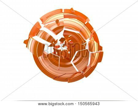 3d shatters clay target for shooting on a white sky poster
