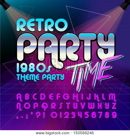 80's retro alphabet font. Retro Alphabet vector. Retro party time. Old style graphic. Eighties style graphic template