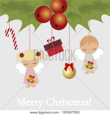 festive Christmas card with Christmas items. Template for decoration and greetings. Christmas baby vector illustration