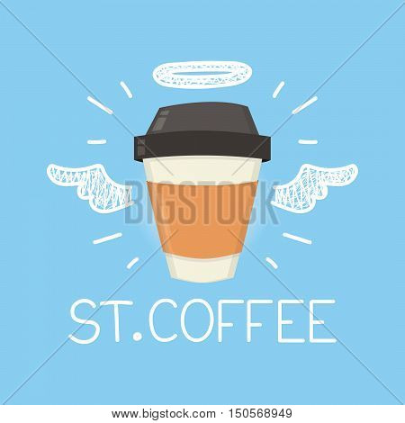"Coffee concept ""St. Coffee"" with angel halo and wings. Flat and doodle vector isolated cartoon illustration poster"