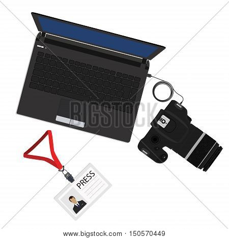 Vector illustration slr camera connected to laptop and lanyard badge with man photo for press. Import photos from camera to pc