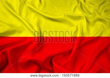 Waving Flag of Karnataka India, with beautiful satin background. 3D illustration