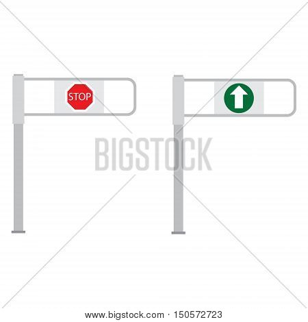 Vector illustration set of shop entrance gate with green arrow and red stop sign. Turnstile. Supermarket go and stop barrier