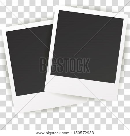 Collection of blank photo frames with adhesive tape different shadow effects and empty space for your photograph and picture. EPS 10 vector illustration. Polaroid frames on wall attached with pins.