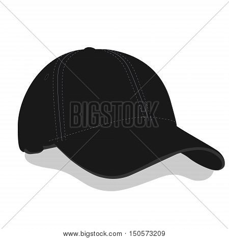 Vector illustration black baseball cap or hat with shadow. Baseball cap icon