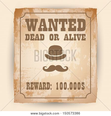 A old wanted posters Vector wanted poster image.
