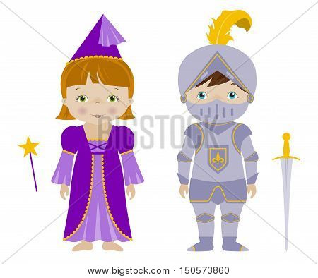 Kids dressed for Halloween or carnival, Cute boy and girl in fairy and knight costumes, cartoon vector.