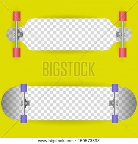 Vector illustration of the two sides longboard. Isolated on white.