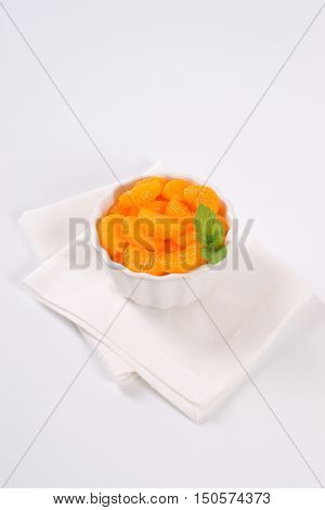 bowl of canned tangerines on white place mat