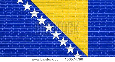 Bosnian and Herzegovinian national official flag. Patriotic symbol banner element background. Accurate dimensions. Correct size colors. Flag of Bosnia and Herzegovina brick wall texture background, 3d illustration