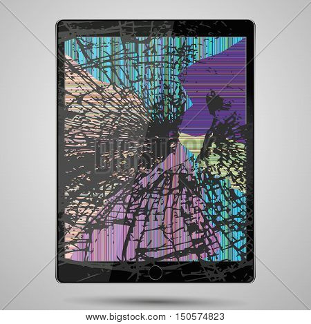 tablet computer with broken glass screen isolated on gray background.