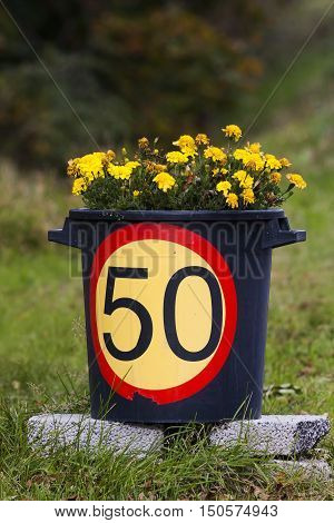 a bucket with flowers and a speed limit sign