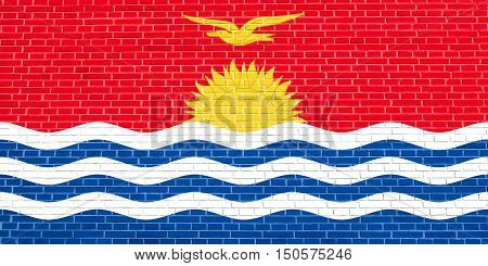 Kiribati national official flag. Patriotic symbol banner element background. Accurate dimensions. Correct size colors. Flag of Kiribati on brick wall texture background, 3d illustration