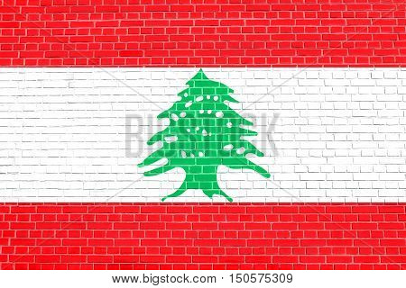 Lebanese national official flag. Patriotic symbol banner element background. Accurate dimensions. Correct size colors. Flag of Lebanon on brick wall texture background, 3d illustration