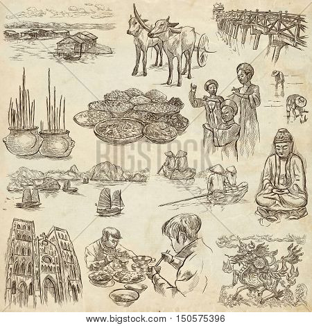 Travel series VIETNAM Socialist Republic of Vietnam.Pictures of Life.Collection of an hand drawn illustrations.Pack of full sized hand drawn illustrations set of freehand sketches.Drawing on old paper