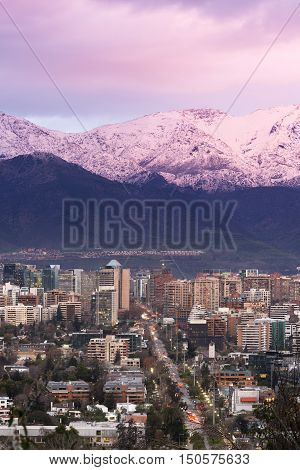 Skyline of residential and office buildings in the wealthy district of Vitacura and Las Condes Santiago de Chile