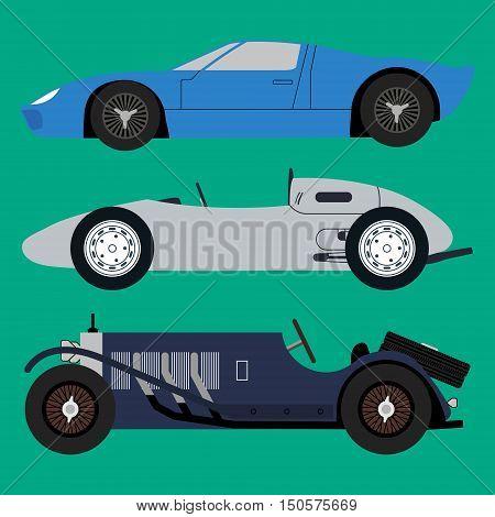Vector vintage sport racing car. Vector illustration.