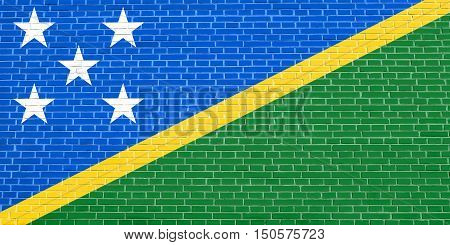 Solomon Island national official flag. Patriotic symbol banner element background. Accurate dimensions. Correct size colors. Flag of Solomon Islands on brick wall texture background, 3d illustration