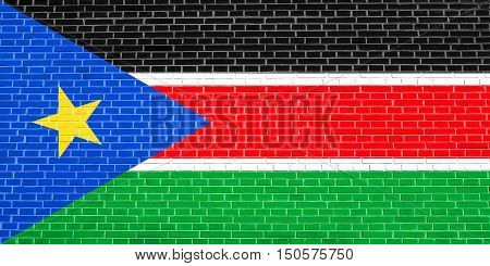 South Sudanese national official flag. African patriotic symbol banner element background. Accurate dimensions. Correct size colors. Flag of South Sudan on brick wall texture background, 3d illustration