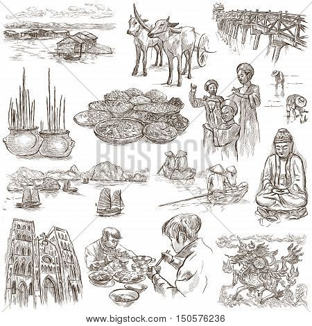 Travel series VIETNAM Socialist Republic of Vietnam.Pictures of Life.Collection of an hand drawn illustrations.Pack of full sized hand drawn illustrations set of freehand sketches.Drawing on white.