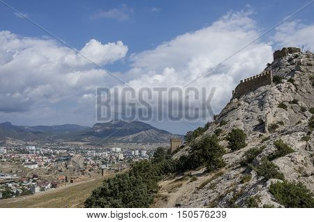 View Of Sudak Town From Ancient Genoese Fortress In. Crimea, Russia. Ukraine