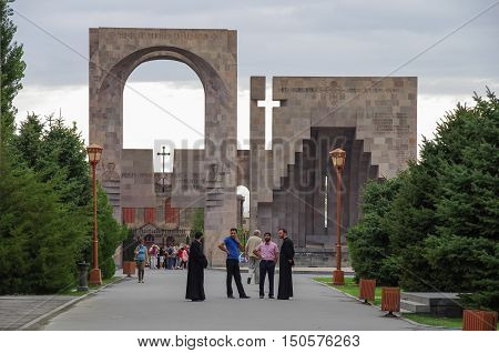 Vagharshapat, Armenia - September 18, 2013: Main entrance in Etchmiadzin monastery complex