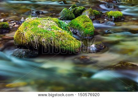 old stones with green moss in water of mountain river