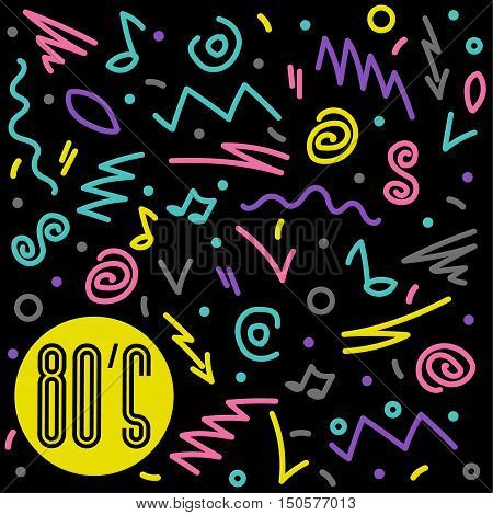80's retro Colorful geometric background. Retro vector graphic . Eighties style fashion style graphic template. Easy editable for Your design.